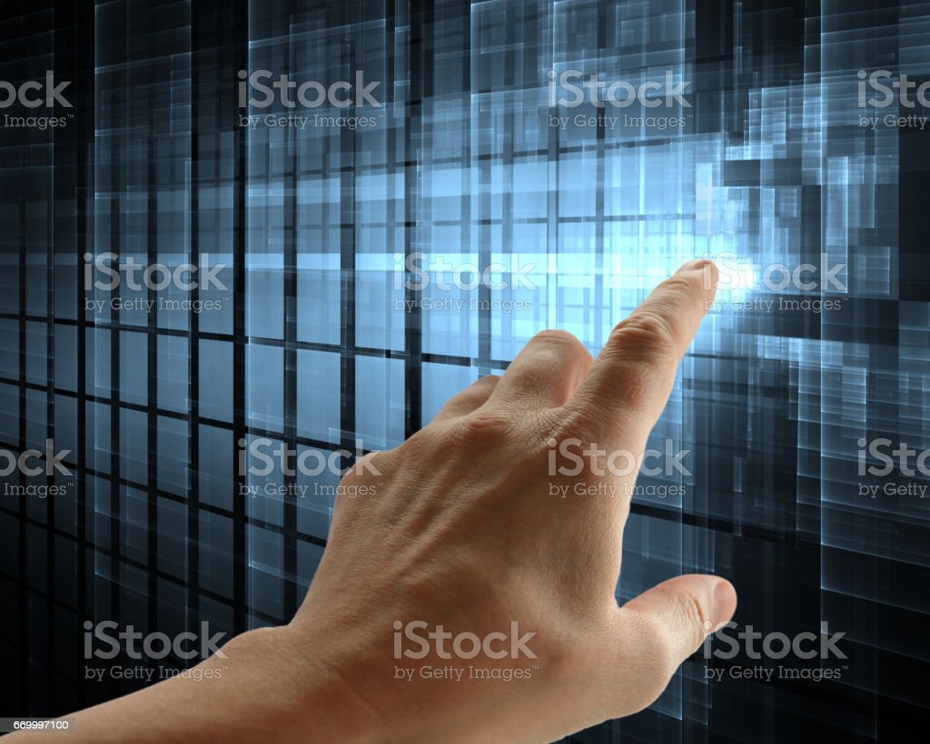 Touchscreen, tech abstract background stock photo