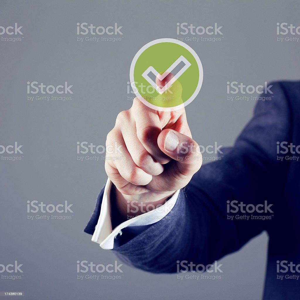 Touchscreen tick button royalty-free stock photo