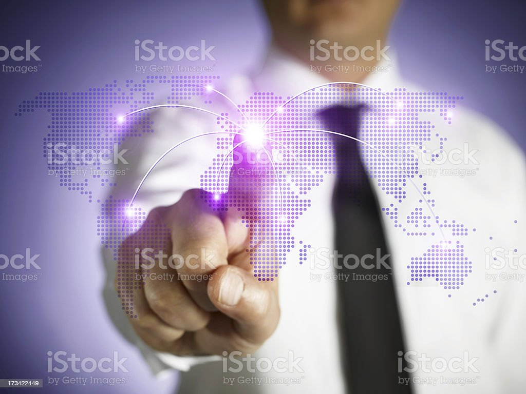 Touchscreen World Map royalty-free stock photo