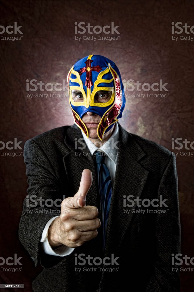 Tough businessman points at camera stock photo