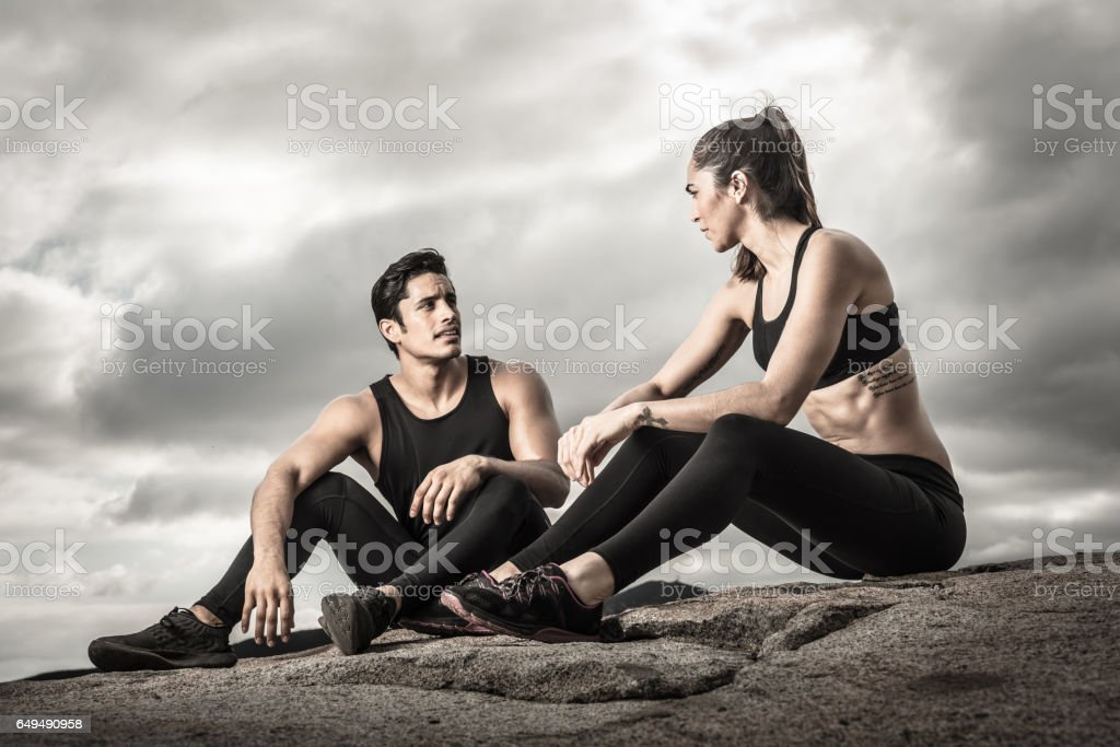 Tough Couple Drinking Water stock photo