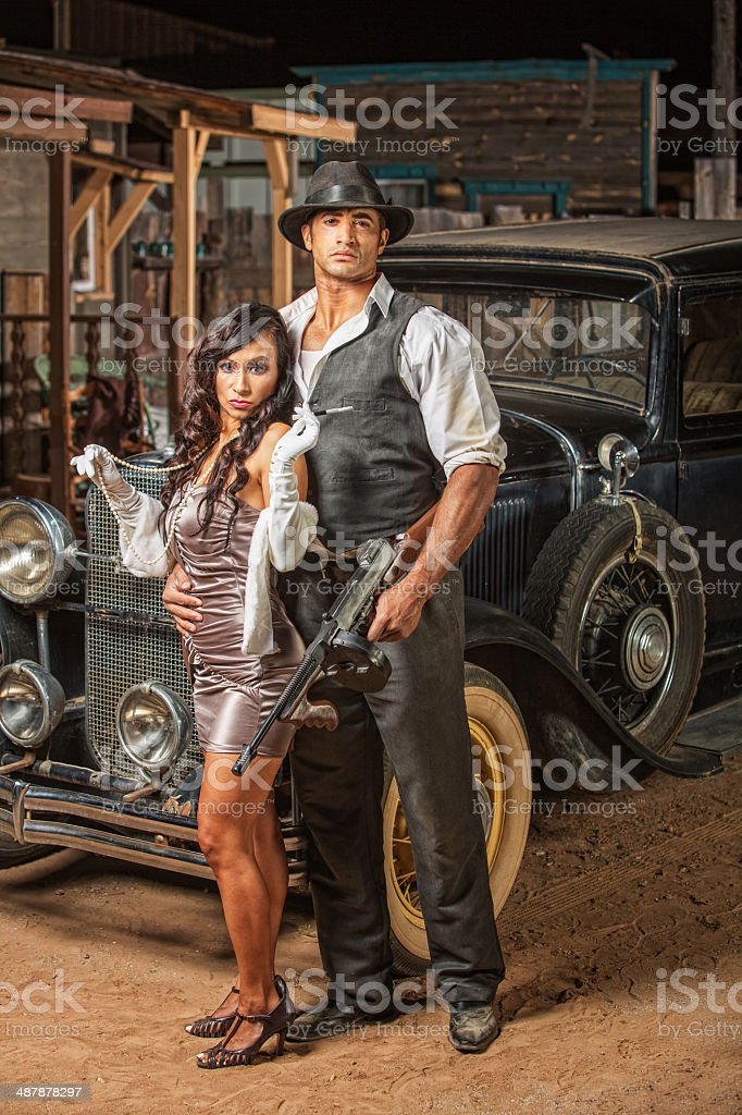 Tough Gangster with Cute Woman stock photo