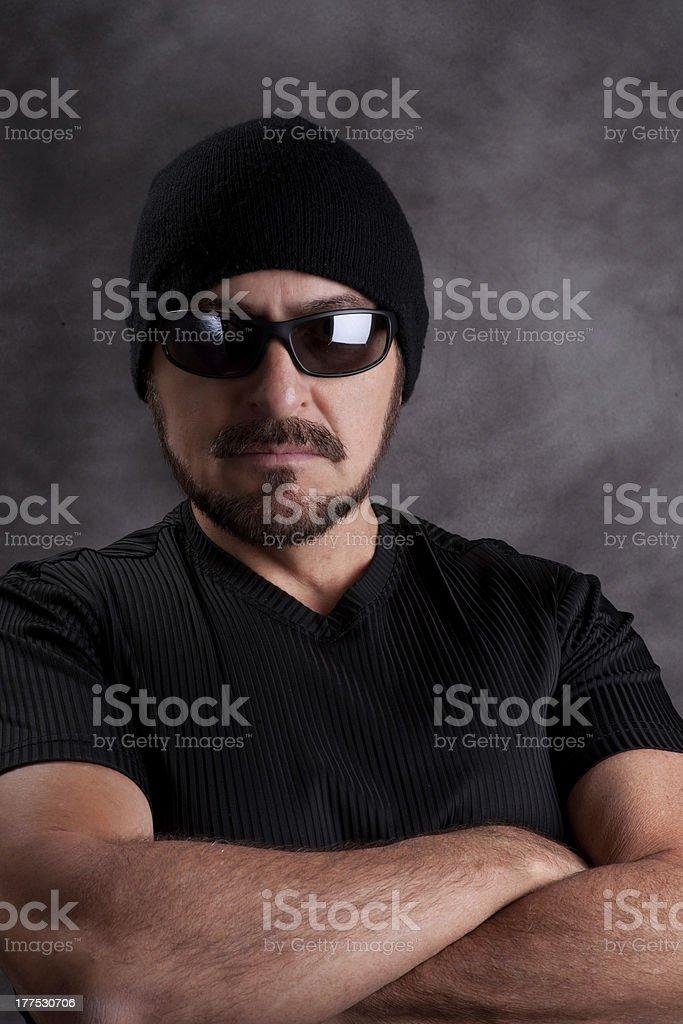 Tough Guy in Black royalty-free stock photo