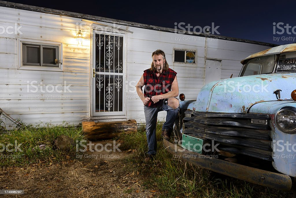 Tough Guy Redneck with Mullet stock photo