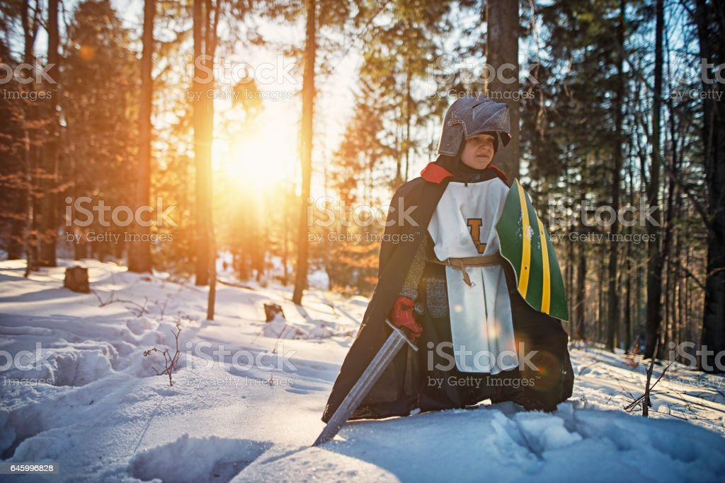 Tough little knight in winter forest stock photo