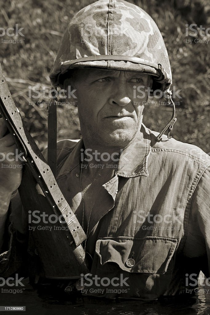 Tough Marine. stock photo