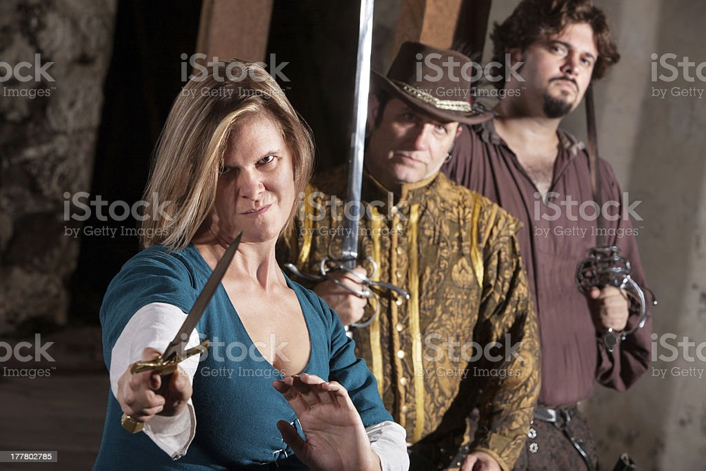 Tough Medieval Lady with Dagger royalty-free stock photo