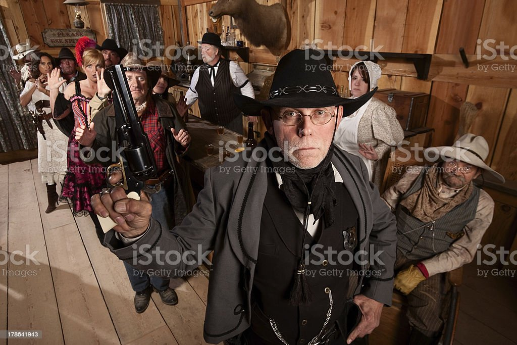 Tough Sheriff in Saloon royalty-free stock photo