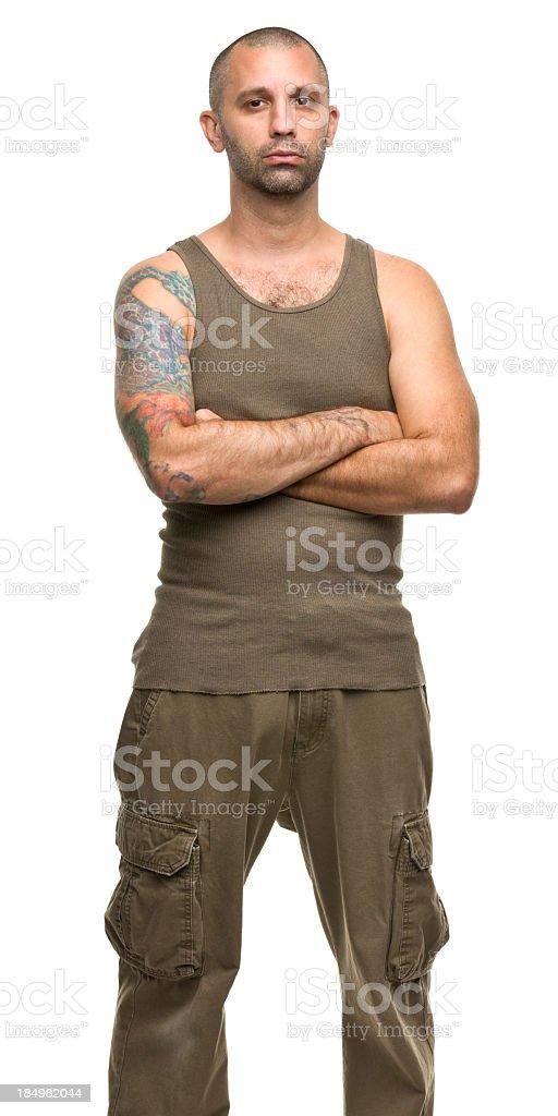 Tough Tattooed Guy Three Quarter Portrait stock photo