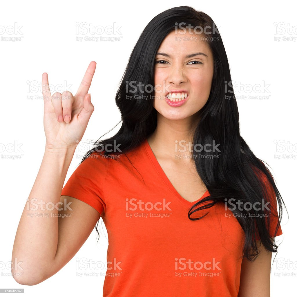 Tough Teenage Girl Hand Gesture royalty-free stock photo