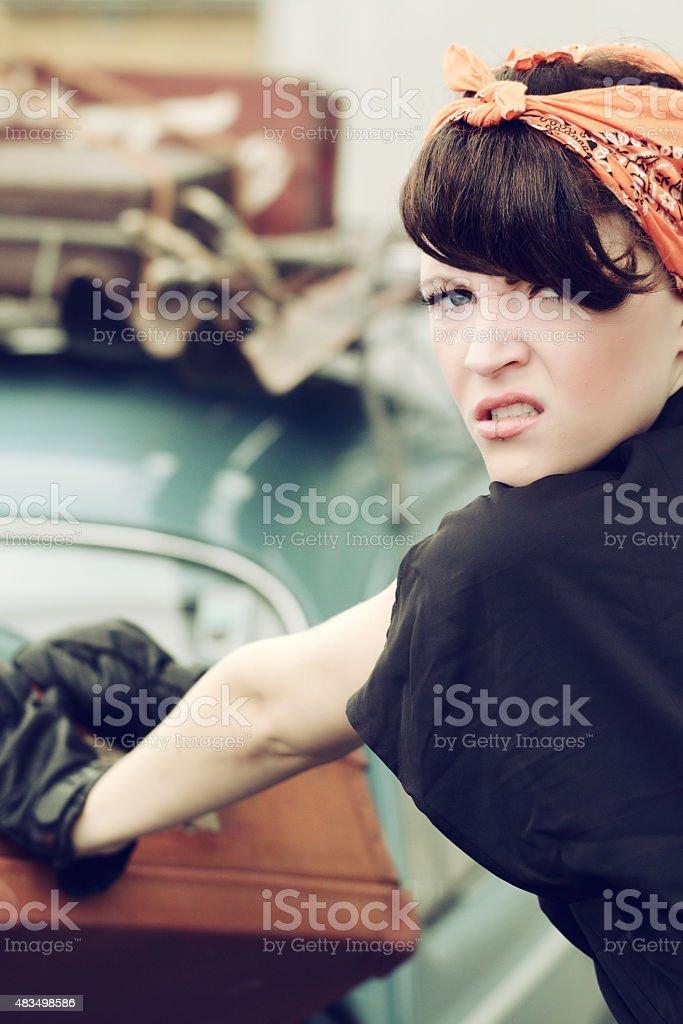 Tough woman Pinup style stock photo