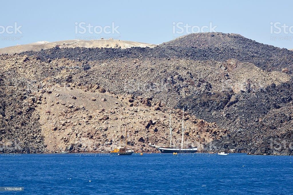 Touist Boat And Nea Kameni, Santorini royalty-free stock photo