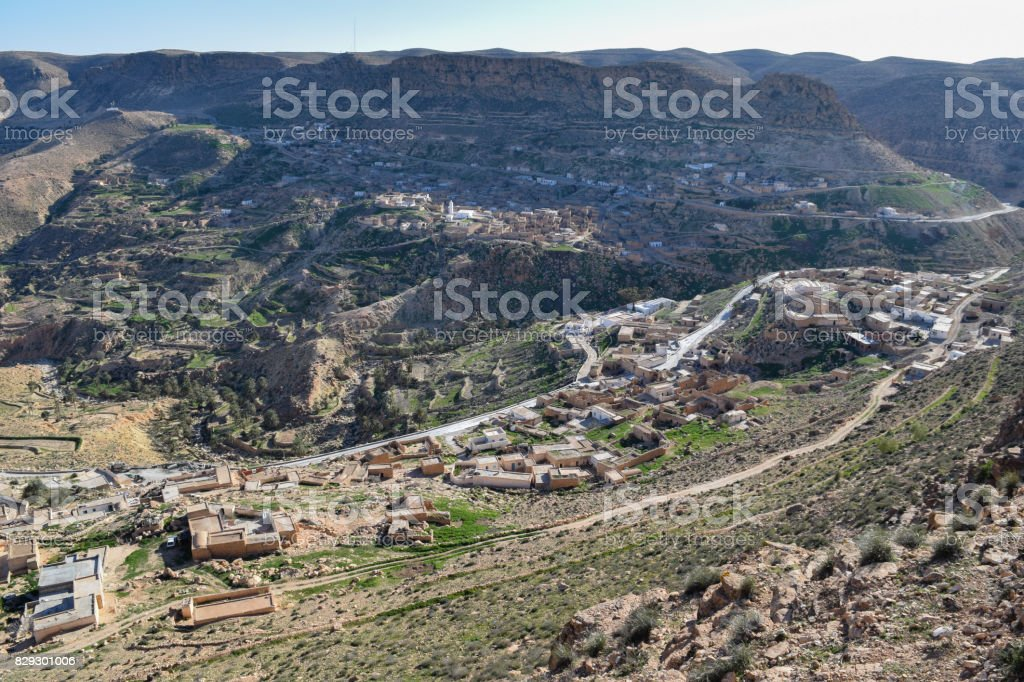 Toujane berber mountain village in the south of Tunisia near Medenine town. North Africa stock photo