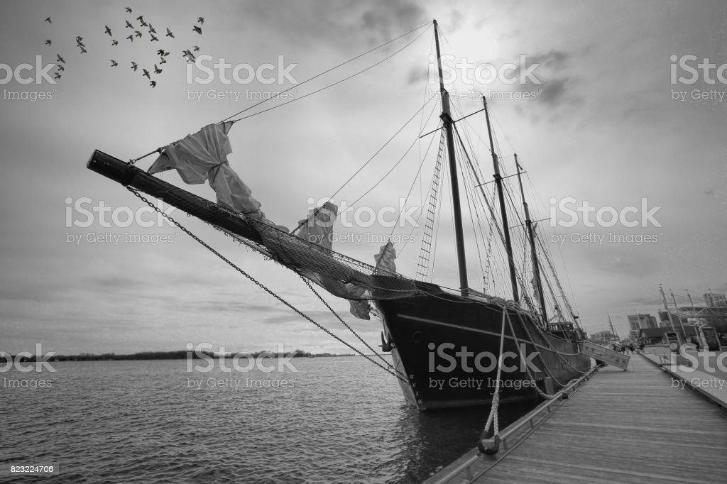 Tour around Toronto Islands on a frigate ship stock photo