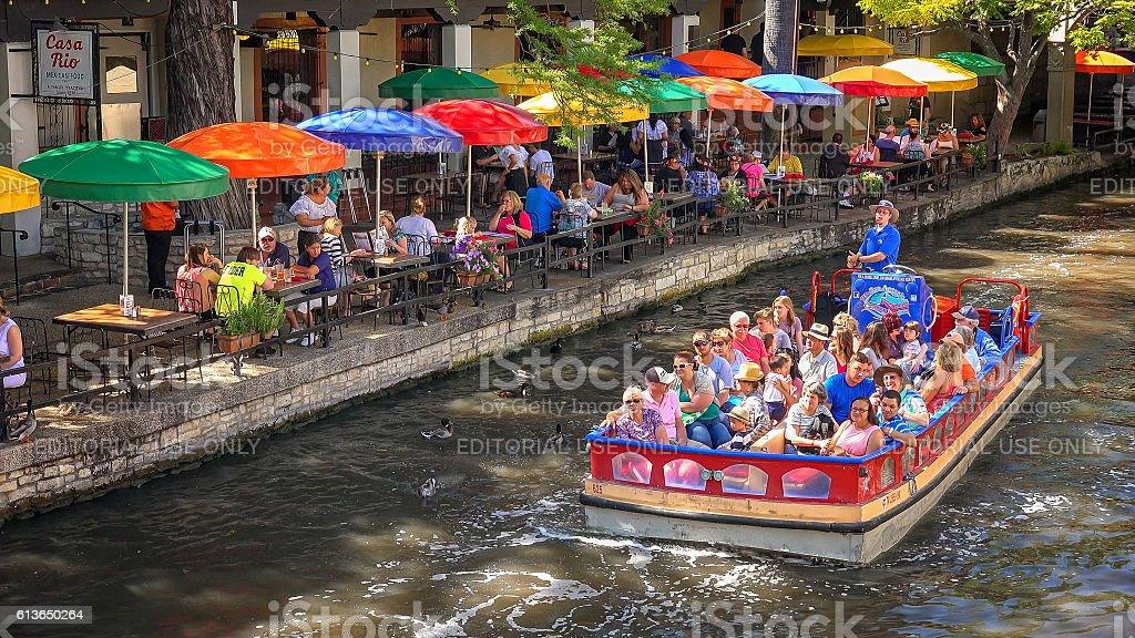 Tour Boat at the San Antonio River Walk, Texas stock photo