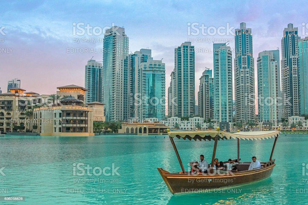 Tour boat Burj Khalifa Lake stock photo