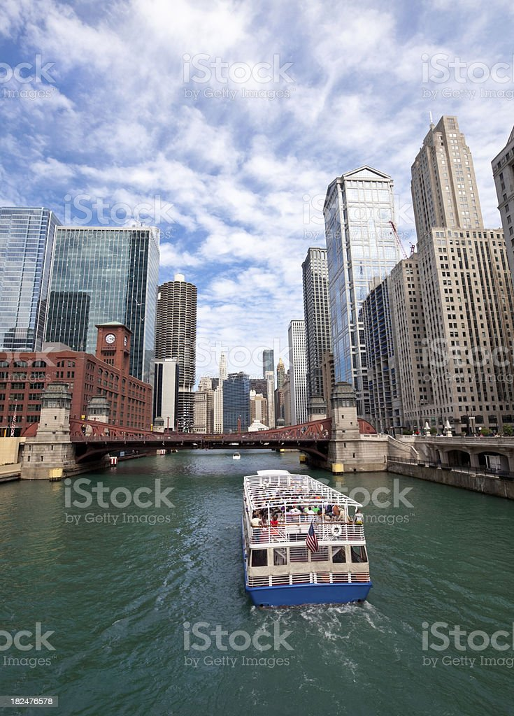 Tour Boat on Chicago River royalty-free stock photo