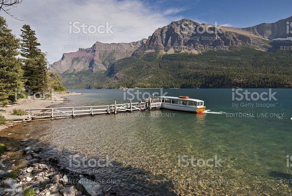 Tour Boat on Saint Mary Lake royalty-free stock photo