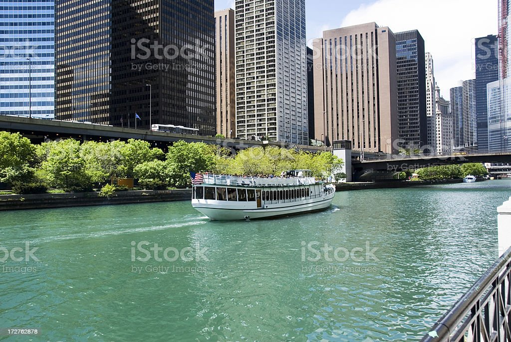 Tour Boat on the Chicago River stock photo