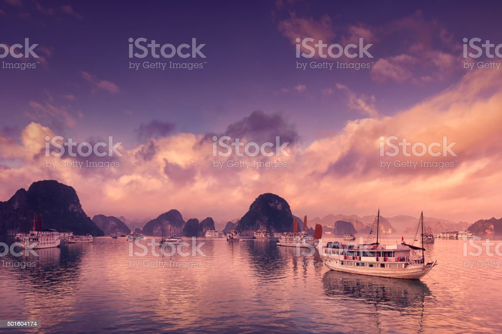 Tour boats in Halong Bay stock photo