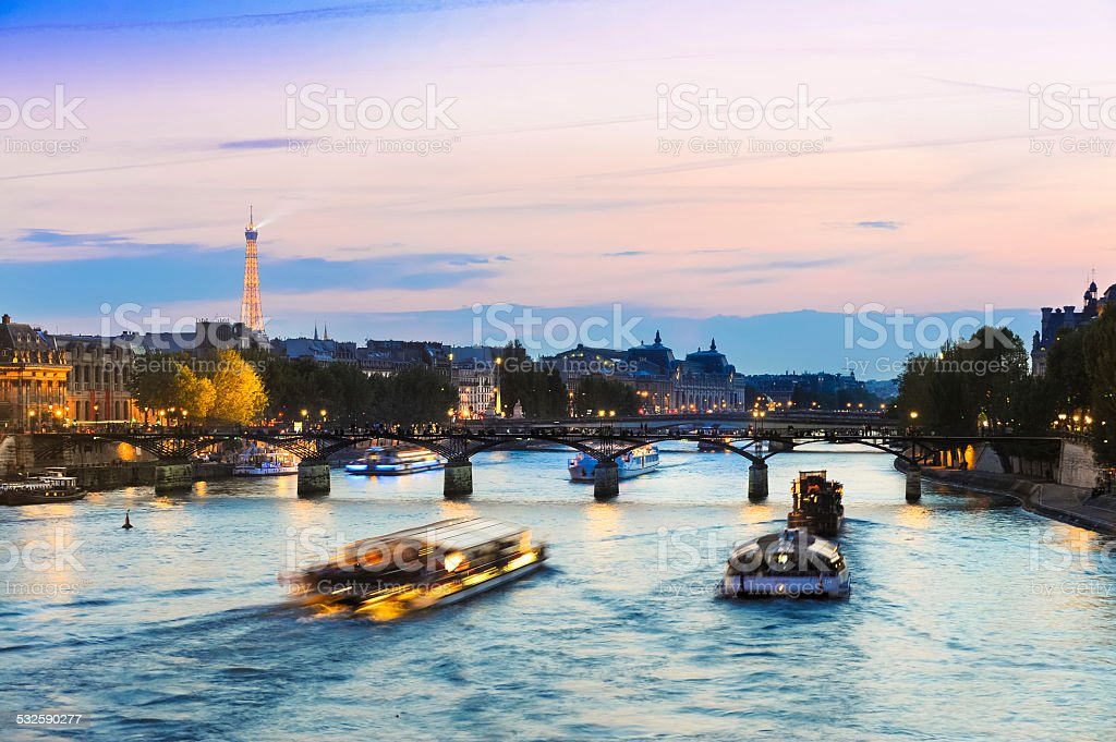 Tour Boats on The Seine at Sunset stock photo