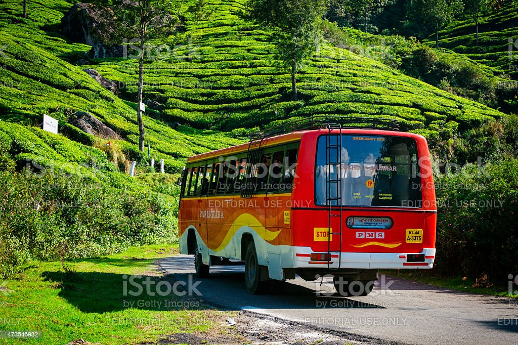 Tour Bus at Tea Plantations in Munnar, India stock photo