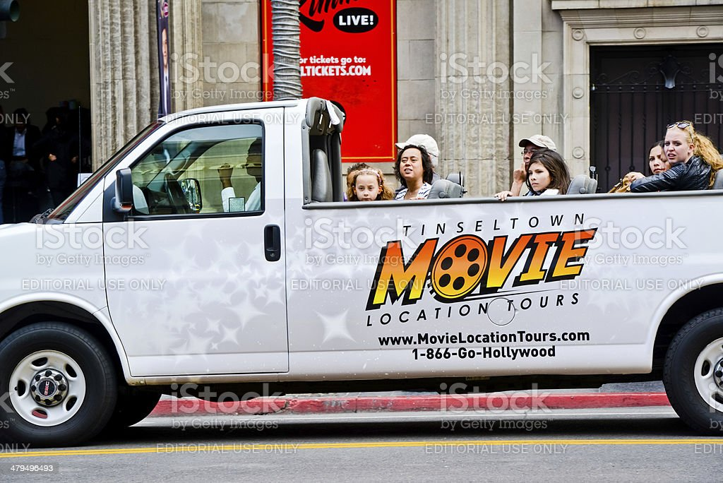 Tour Bus full of tourists on Hollywood Boulevard royalty-free stock photo