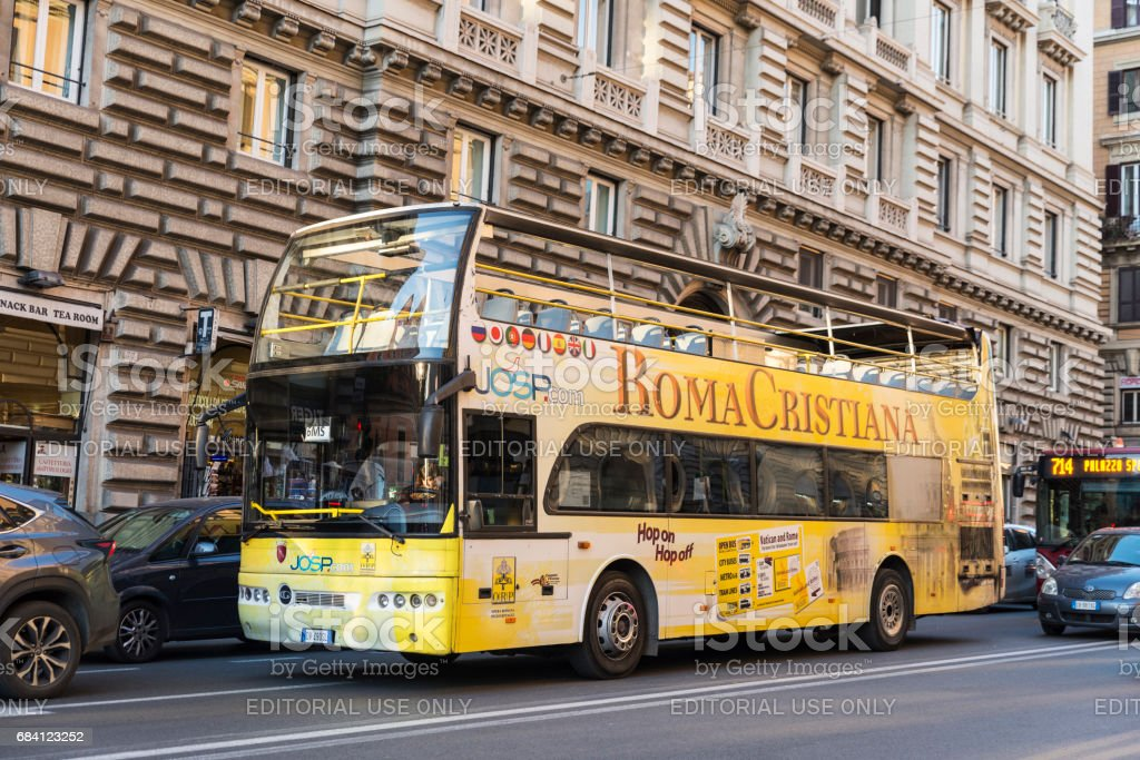 Tour bus in Rome, Italy stock photo