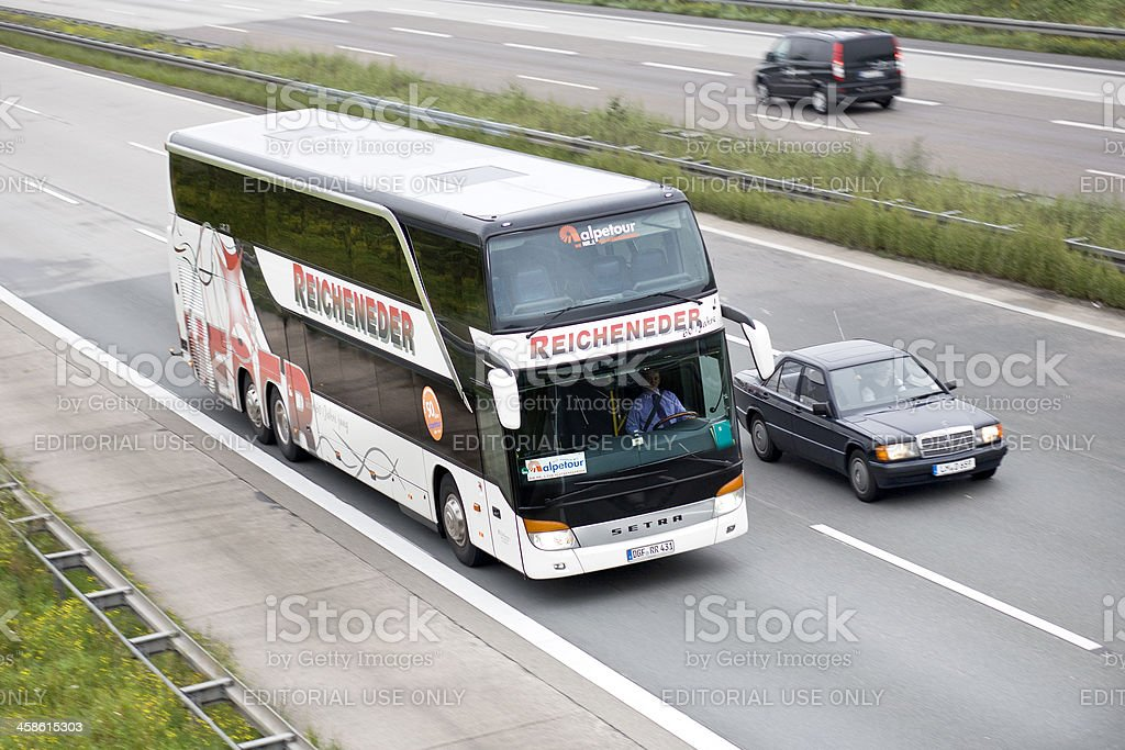 Tour bus on german Autobahn royalty-free stock photo