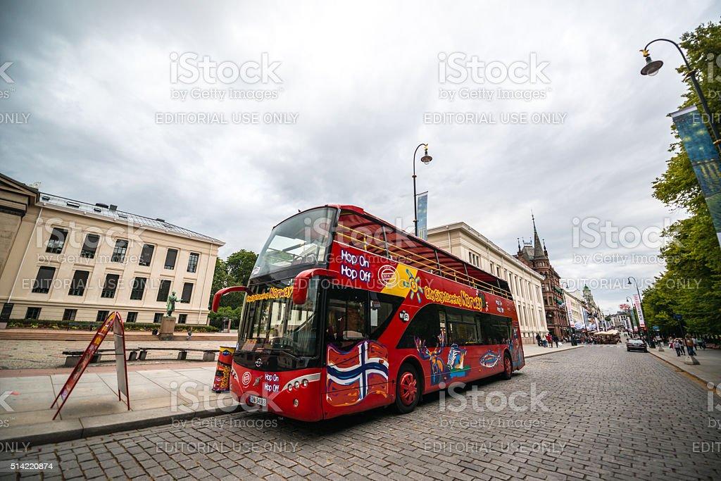 Tour Bus on Oslo street, Norway stock photo