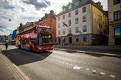 Tour bus on Stockholm street, Sweden