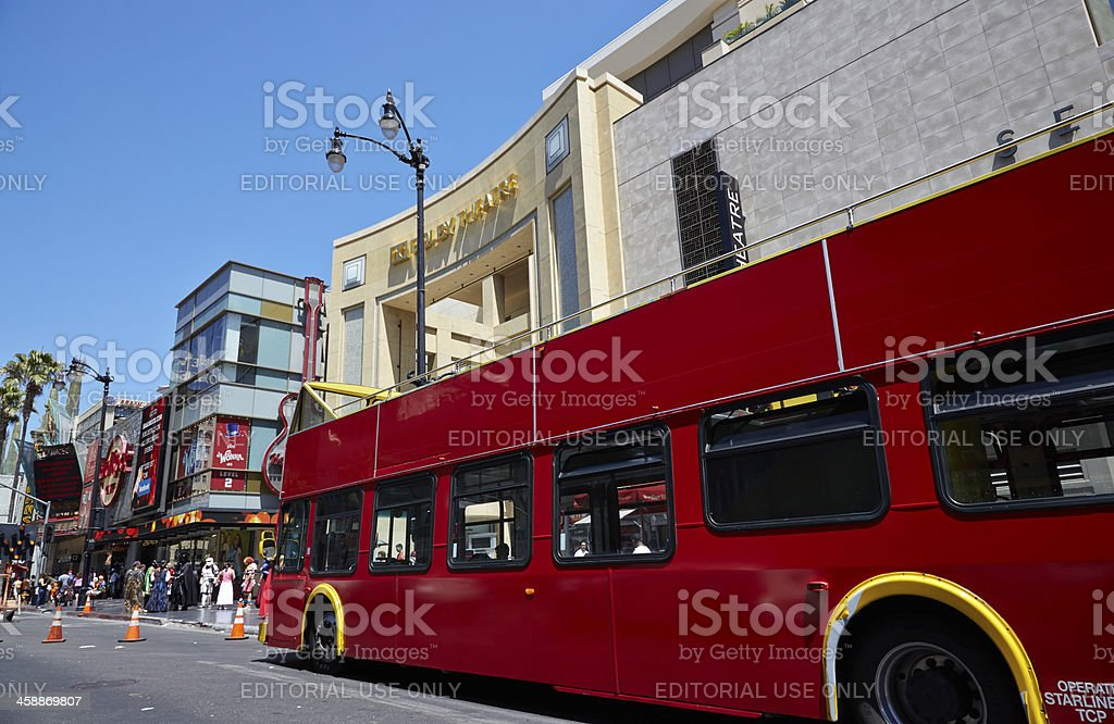 Tour Bus Outside Dolby Theater, Hollywood, California royalty-free stock photo
