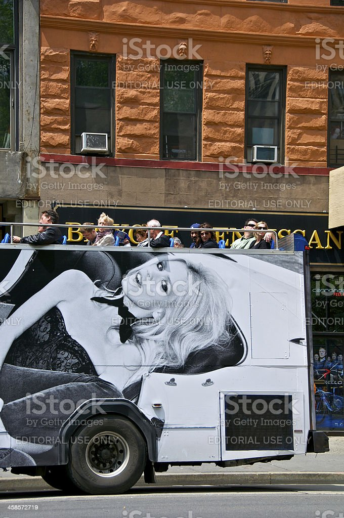 Tour bus, Upper West Side of Manhattan, New York City royalty-free stock photo