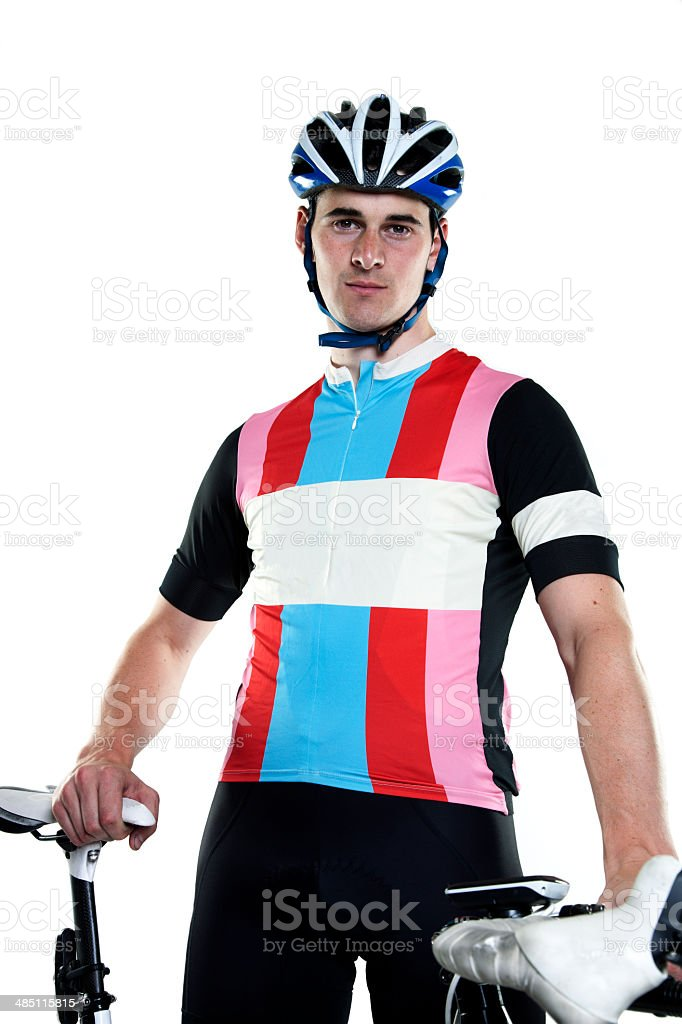 Tour cyclist with bike royalty-free stock photo