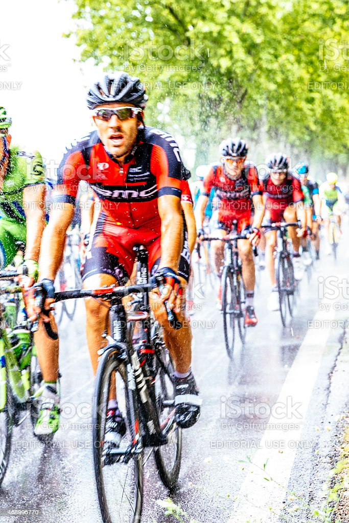 Tour de France 2014 riders in rainstorm stock photo