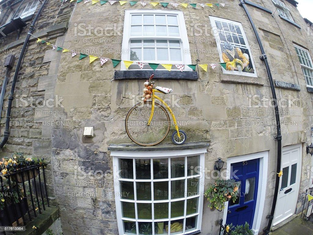 Tour de France decoration on domestic house Knaresborough England stock photo