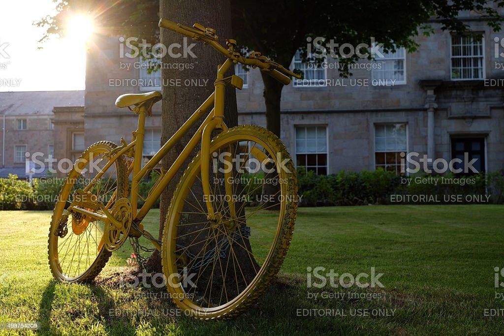 Tour De France Decorative Yellow Bike in Leeds, England stock photo
