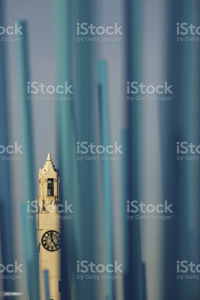 Tour de l'Horloge and modern art in Montreal stock photo