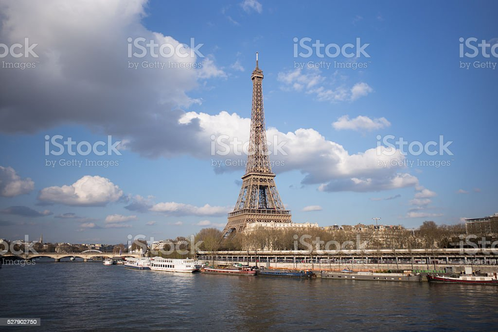 Tour Eiffel among the clouds. stock photo