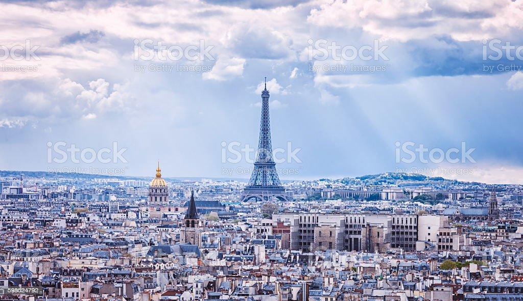 Tour Eiffel and Paris city view stock photo