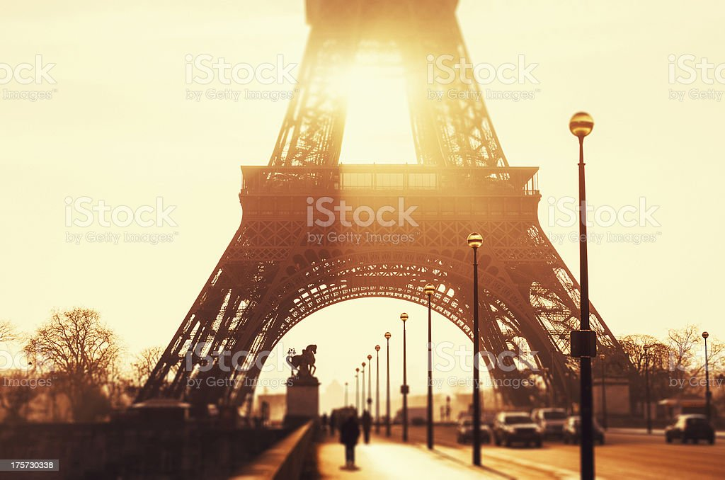 Tour eiffel at sunset stock photo