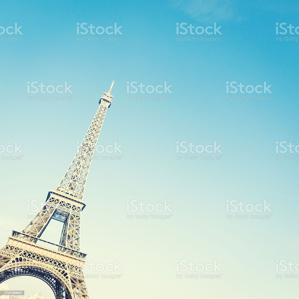Tour Eiffel in a blue sky royalty-free stock photo