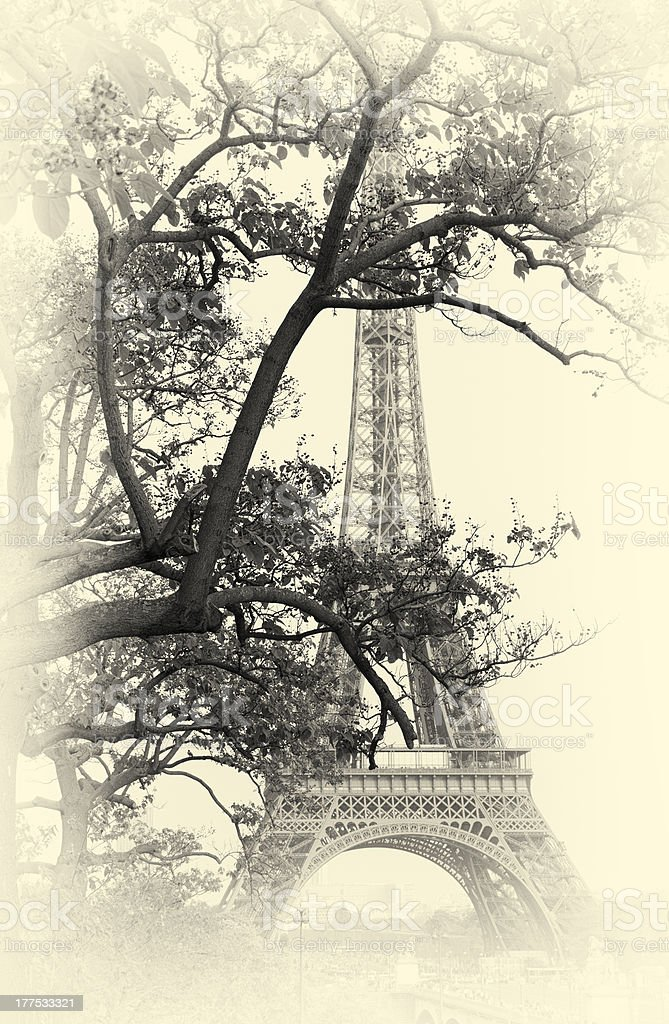 Tour Eiffel, Paris. Toned Image, Aged Effect Added. stock photo