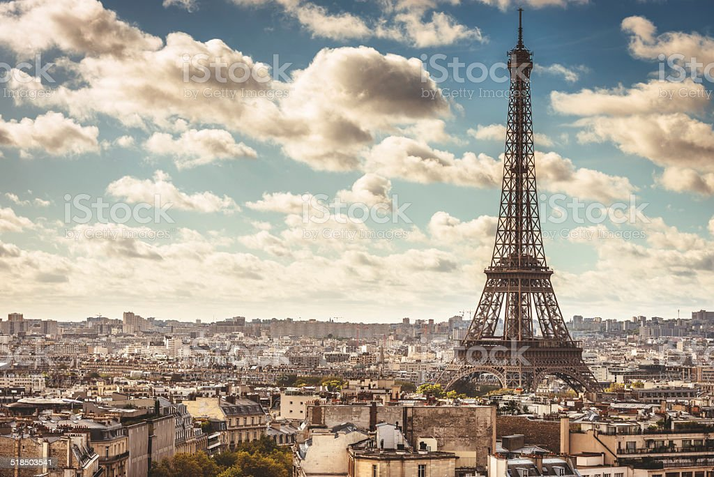 Tour eiffel tower aerial view stock photo