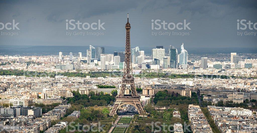 Tour eiffel tower aerial view stock photo