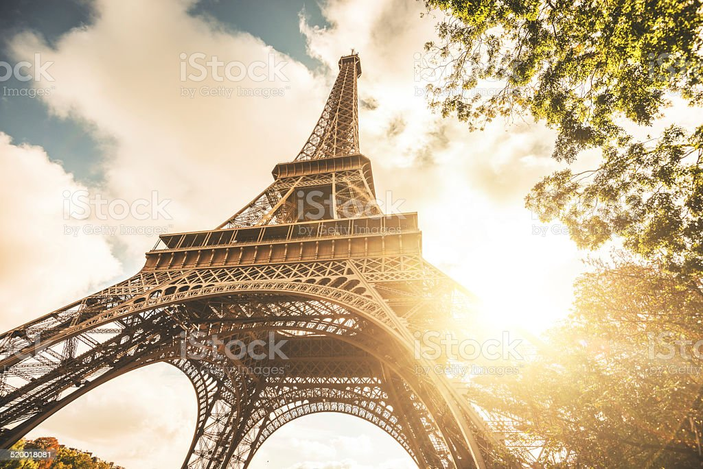 Tour eiffel tower at sunset stock photo