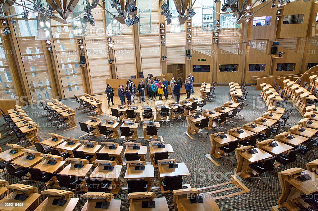 Tour Group at the Scottish Parliament stock photo