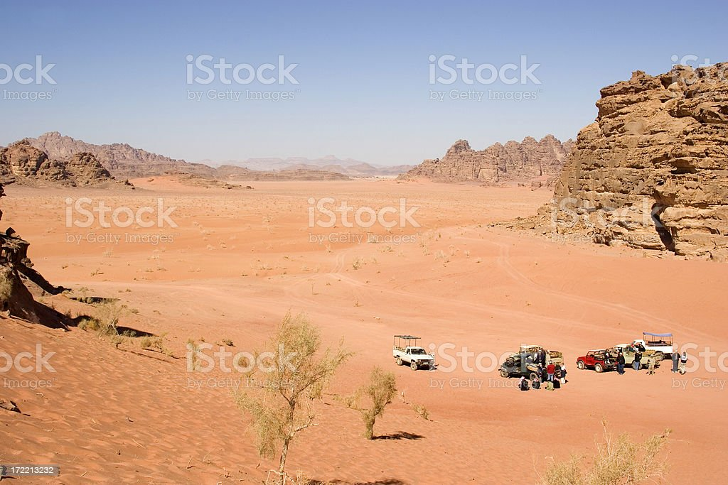 Tour group in the desert royalty-free stock photo