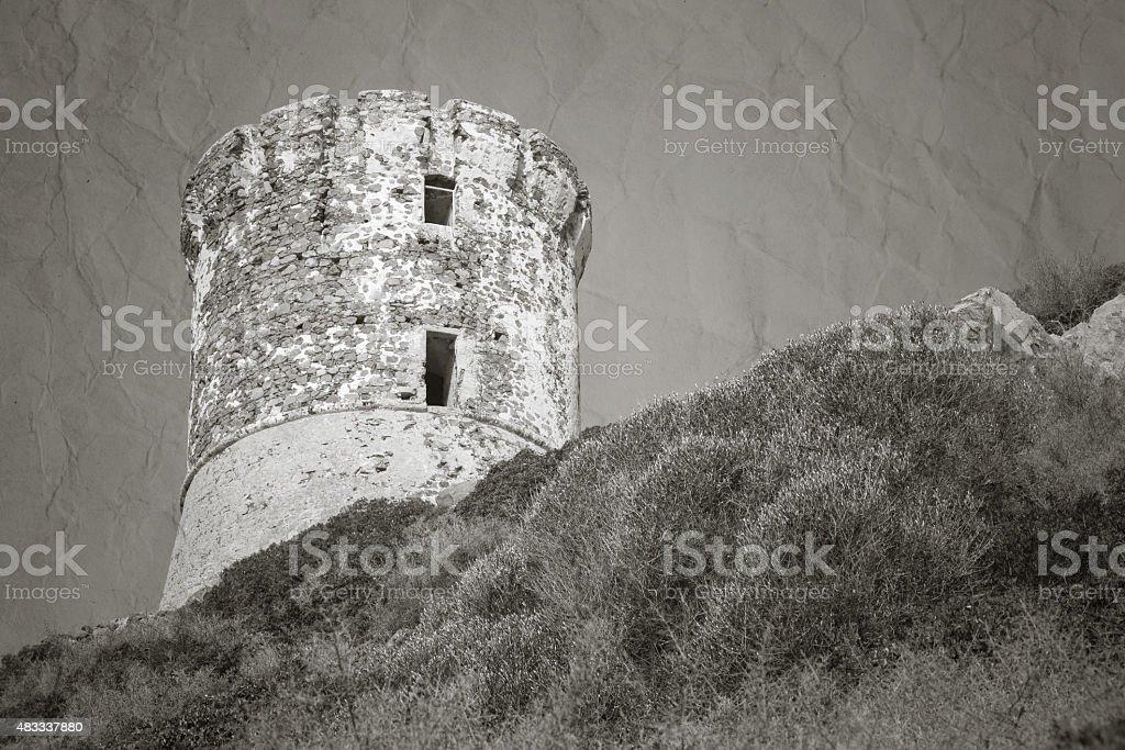 Tour Parata. Ancient Genoese tower, Corsica stock photo