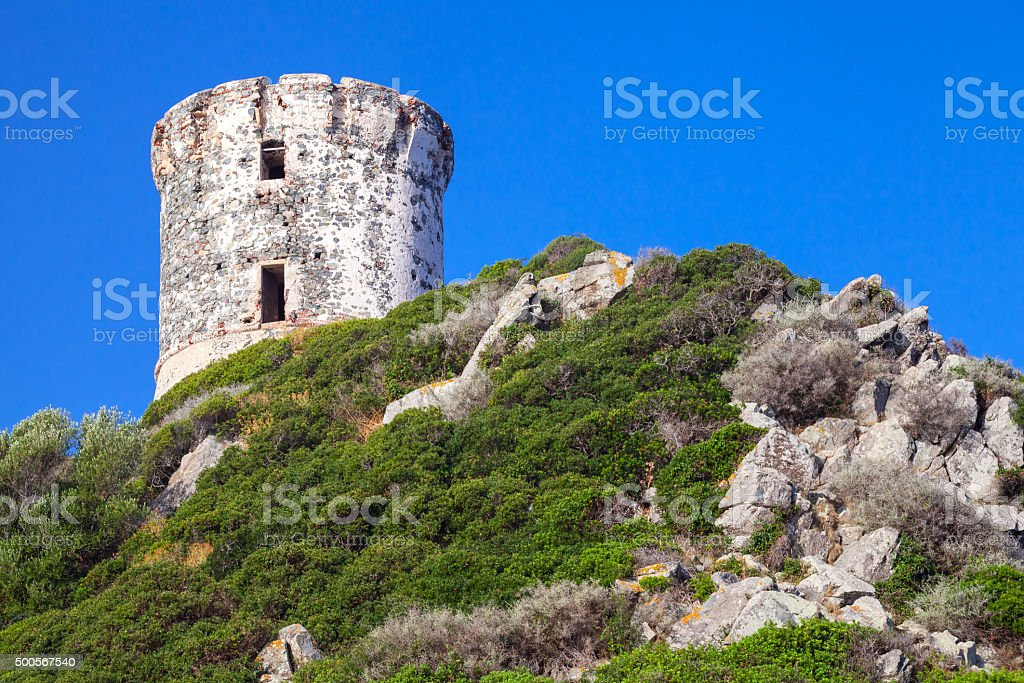Tour Parata. Ancient Genoese tower on Corsica stock photo